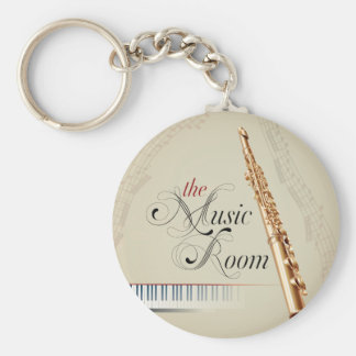 Sitio de la música de la flauta llavero redondo tipo pin