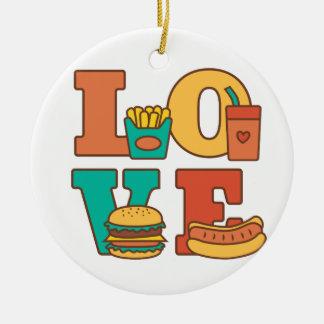 Sitio Décor de Junk Food del amor de las letras Adorno Navideño Redondo De Cerámica