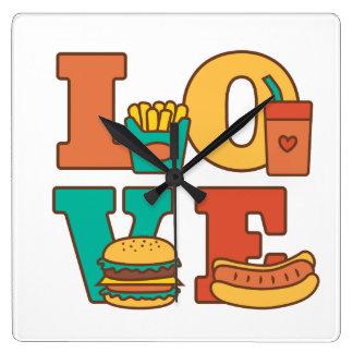 Sitio Décor de Junk Food del amor de las letras Reloj Cuadrado