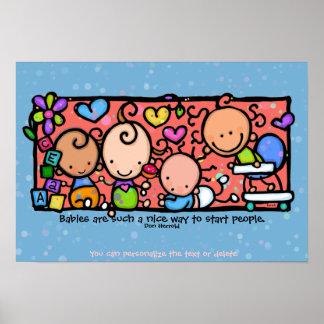 Sitio del bebé. Juguetes de los niños y AZUL Love. Posters