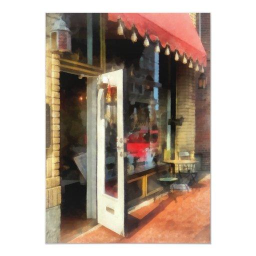 """Sitio del té en SoNo Norwalk, CT Invitación 5"""" X 7"""""""