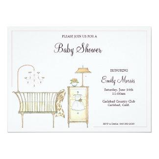 """Sitio elegante del bebé invitación 5.5"""" x 7.5"""""""