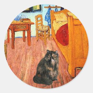 Sitio - gato de calicó persa pegatina redonda