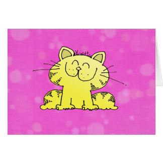 Sitio lindo del rosa del gatito tarjeta de felicitación