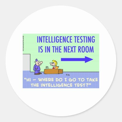 sitio siguiente de prueba de la inteligencia etiquetas redondas