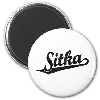 Sitka script logo in black distressed 2 inch round magnet
