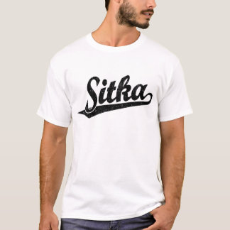 Sitka script logo in black distressed T-Shirt