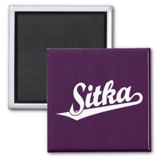 Sitka script logo in white 2 inch square magnet