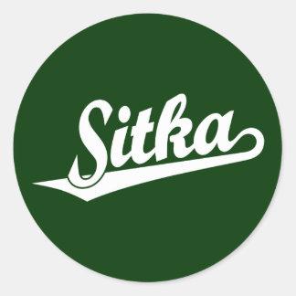 Sitka script logo in white classic round sticker