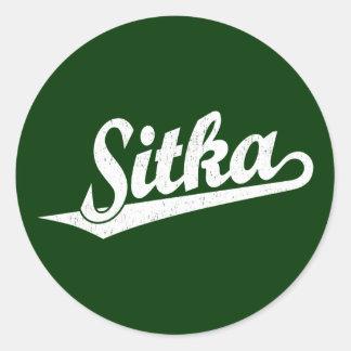 Sitka script logo in white distressed classic round sticker
