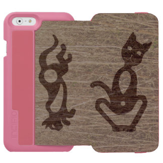 SITTING AND RUNNING TEXTURED CAT by Slipperywindow iPhone 6/6s Wallet Case