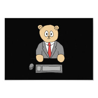 Sitting at a Desk - Red Tie. Card