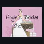 "Sitting bbride bridal shower lawn sign<br><div class=""desc"">Customize names &amp; dates!</div>"