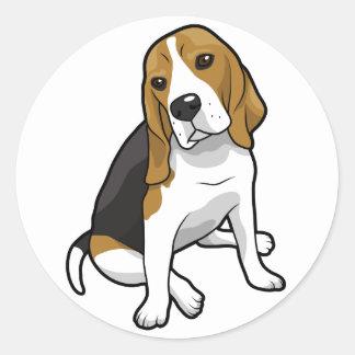Sitting Beagle Classic Round Sticker