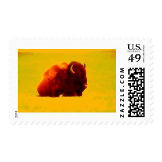 Sitting Bison Postage Stamp