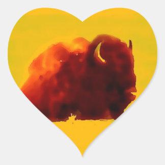 Sitting Bison Silhouette Heart Sticker