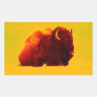 Sitting Bison Silhouette Rectangular Sticker