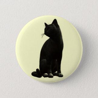 Sitting Black Cat Button