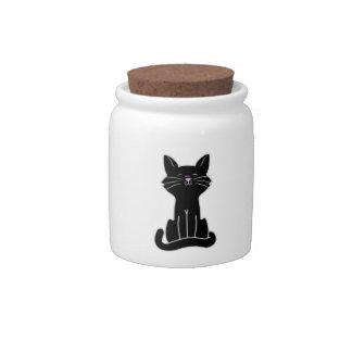 Sitting Black Cat Candy Jars