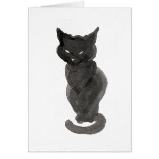 Sitting black cat card