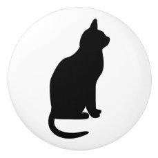 Sitting Black Cat Facing Right Ceramic Knob