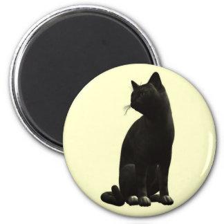Sitting Black Cat Magnet