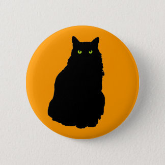 Sitting Black Cat on Orange Pinback Button