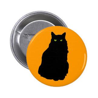 Sitting Black Cat on Orange Pinback Button