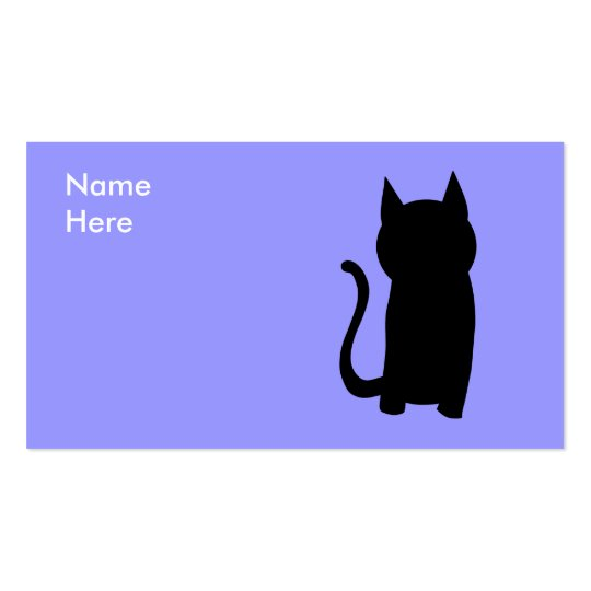 Sitting Black Cat Silhouette. Business Card