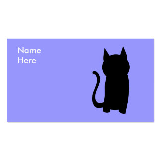 Sitting Black Cat Silhouette Business Card Template