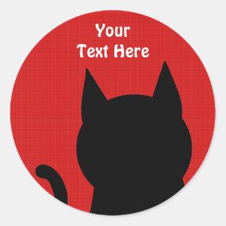 Sitting Black Cat Silhouette. Classic Round Sticker