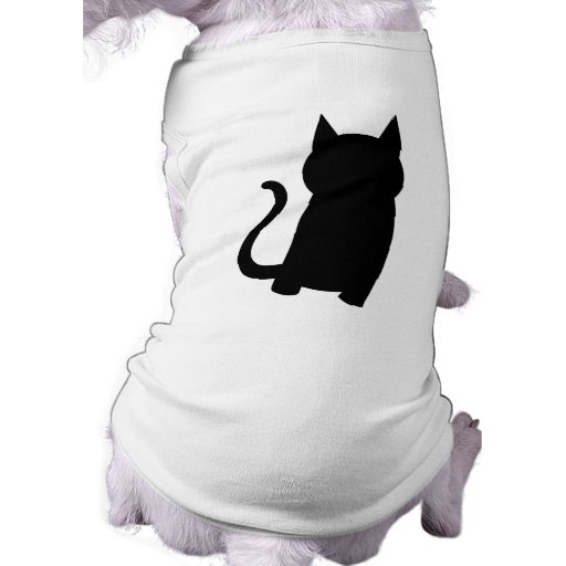 Sitting Black Cat Silhouette. Doggie Tee Shirt