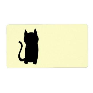 Sitting Black Cat Silhouette. Label