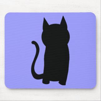 Sitting Black Cat Silhouette. Mousepads