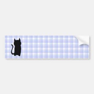 Sitting Black Cat Silhouette. On pale blue check. Bumper Stickers