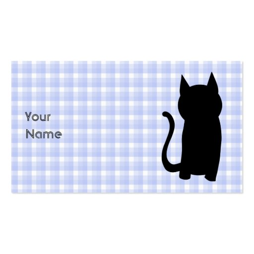 Sitting Black Cat Silhouette. On pale blue check. Business Card