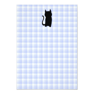 Sitting Black Cat Silhouette. On pale blue check. Card