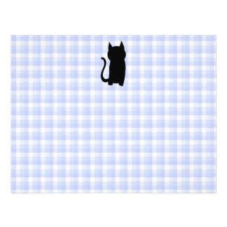 Sitting Black Cat Silhouette. On pale blue check. Flyers