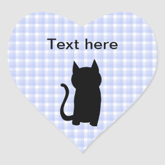 Sitting Black Cat Silhouette. On pale blue check. Heart Sticker