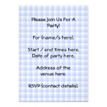 Sitting Black Cat Silhouette. On pale blue check. Personalized Invitation