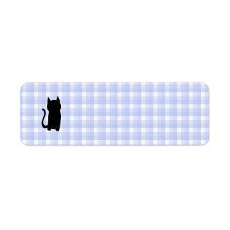 Sitting Black Cat Silhouette. On pale blue check. Label