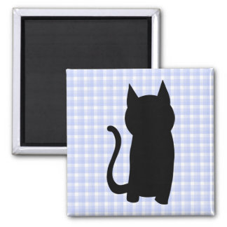 Sitting Black Cat Silhouette. On pale blue check. Refrigerator Magnet