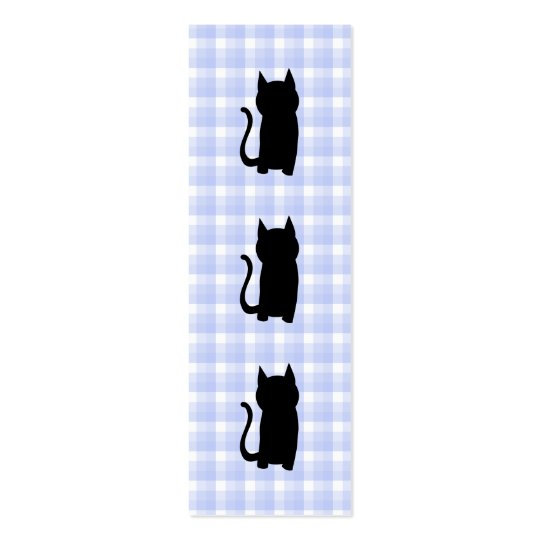 Sitting Black Cat Silhouette. On pale blue check. Mini Business Card