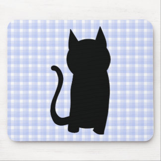 Sitting Black Cat Silhouette. On pale blue check. Mouse Pad