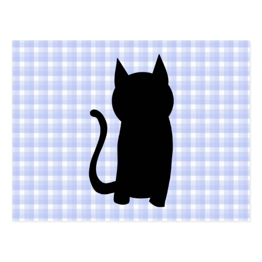 Sitting Black Cat Silhouette. On pale blue check. Postcard