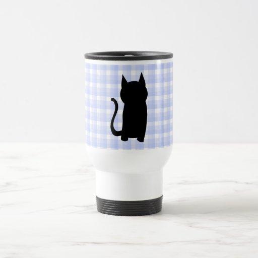 Sitting Black Cat Silhouette. On pale blue check. Travel Mug