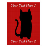 Sitting Black Cat Silhouette. Poster