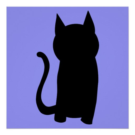 Sitting Black Cat Silhouette. Posters