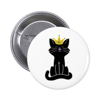 Sitting Black Cat with Gold Crown 2 Inch Round Button