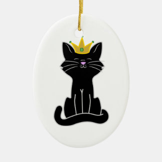 Sitting Black Cat with Gold Crown Ceramic Ornament